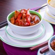 Chinese sweet and sour chickenwith rice — Stock Photo