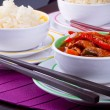 Chinese sweet and sour chickenwith rice — Stock Photo #13552949