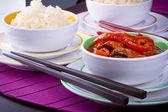 Arroz chinês louca de doce e azedo — Foto Stock