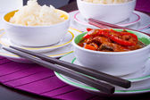 Chinese sweet and sour chickenwith rice — Foto Stock