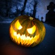 Scary halloween pumpkin in the dark forest — Stock Photo #13975075
