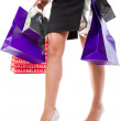 Female in high heels with shopping bags — Foto Stock