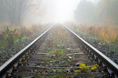 Train rails in foggy weather — Stock Photo