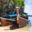 Traditional Thai long tail boats at the sea — Stock Photo