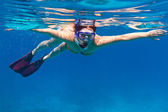 Young women at snorkeling — Stock Photo