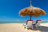 Tropical beach scenery with parasols — Stock Photo
