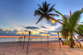 Sunset under tropical palm tree on the beach — Foto Stock