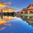 Stock Photo: Sunset in oriental scenery of Thailand