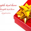 Christmas gift boxes with sample text — Stock Photo