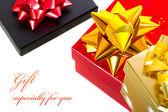 Noel hediye kutuları ile örnek metin — Stok fotoğraf