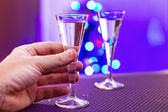Drinking alone at Christmas — Stock Photo