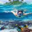 Snorkeling in the tropical water — Stock Photo #17822859