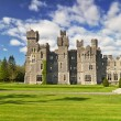 Ashford castle and gardens in Co. Mayo - Stock Photo