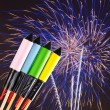 Stock Photo: Fireworks over dark sky