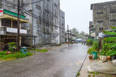 Street with ruined buildings in Thailand — Stock Photo
