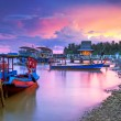 Amazing sunset at the harbor in Thailand — ストック写真