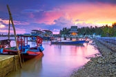 Amazing sunset at the harbor in Thailand — Stock Photo