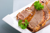Slices of homemade roast pork — Stock Photo
