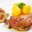 Stock Photo: Roast duck leg with potatoes