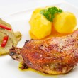 Roast duck leg with potatoes — Stock Photo