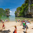 Tourists on James Bond Island, Thailand — Stock Photo