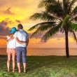 Watching together sunset under palm tree — Stock Photo #21908221
