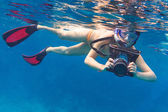 Snorkeling in the Andaman sea with underwater camera — Stock Photo