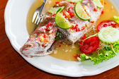 Thai style whole red snapper fish — Stock Photo