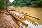 Bamboo raft on the river in Khao Sok National Park — Stock Photo