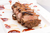 Roasted duck breast with gravy — Stock Photo