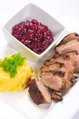 Roasted duck breast with potatoes — Stock Photo