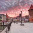 Old town of Gdansk with ancient crane at dusk, Poland — Stock Photo #22418371