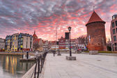 Old town of Gdansk with ancient crane at dusk, Poland — Stock Photo