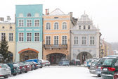 Streets of Gniew town in winter scenery — Stock Photo