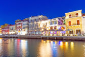 Agios Nikolaos city at night on Crete, Greece — Stock Photo