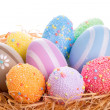 Colorful Easter eggs in the nest — Stock Photo