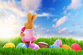 Easter eggs and bunny on the perfect meadow — Stock Photo