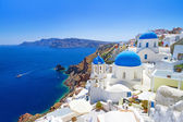 Architecture of Oia village on Santorini island — Stockfoto