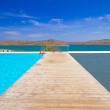 Pier at the water of Mirabello Bay — Stock Photo