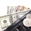 Black leather wallet with money — Stock Photo #23367656