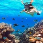 Beautiful woman snorkeling in Red Sea — Stock Photo #24829575