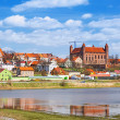 Gniew town with teutonic castle at Wierzyca river — Stock Photo
