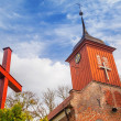 Small cottage church in the summer scenery — Stock Photo