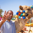 Man offering camel ride on the beach of Hurghada - Stock Photo