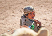 Native boy with camel in Egypt — Stock Photo