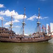 Stock Photo: Pirate galleon ship on the water of Baltic Sea