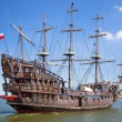 Pirate galleon ship on the water of Baltic Sea — Stok fotoğraf