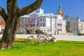 Square of the old town with beautiful architecture in Sopot — Stock Photo