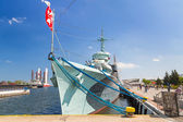 Polish destroyer ship at the Baltic Sea in Gdynia — Stock Photo
