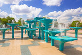 City center fountain in Gdynia — Stock Photo
